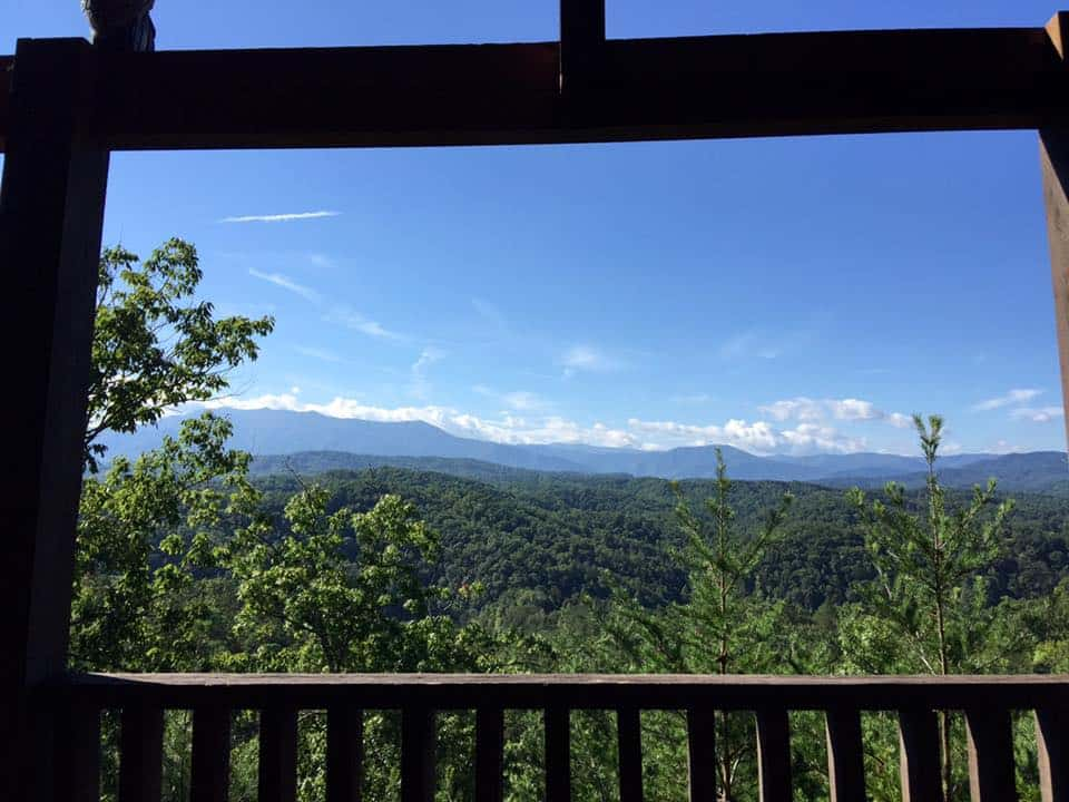 Beautiful mountain view from a cabin.