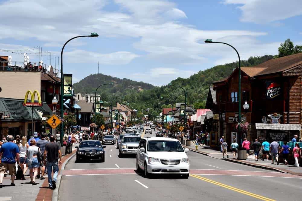 Downtown Gatlinburg on a summer day