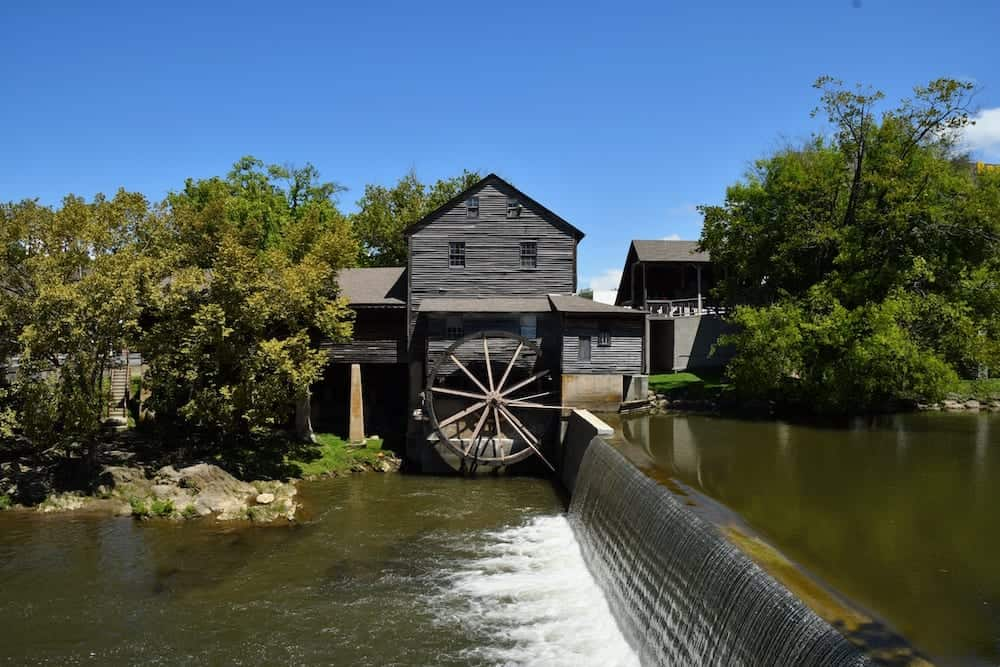 The Old Mill in Pigeon Forge Tn on a beautiful summer day