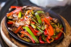 fajitas at restaurant in gatlinburg